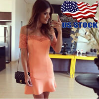 Sexy Women Causal Off Shoulder Mini Dress Bodycon Evening Cocktail Lace Skirt