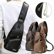 Mens USB Charging Sling Shoulder Chest Bag Cross Body Messenger Leather Backpack