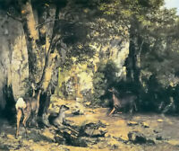 Oil painting gustave courbet - deer under cover by the plaisir fontaine stream