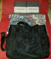 Yoga Block, Blanket and Bag Lot: Gaiam Bag, Kuku Lady Blocks (2)