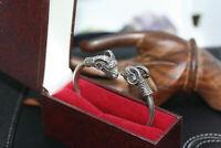 Museum Style Vintage Sterling Silver Ornate Dual Ram's Head Hinged Cuff Bracelet