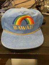 Vtg Hawaii Rainbow Hat Cap Snapback Trucker Headwear Corduroy Blue Rare