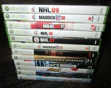 12 GAME LOT FOR MICROSOFT XBOX 360, DISC, CASE INLAY, BOOKLET, DIABLO,MADDEN,MW2