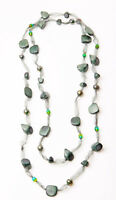 STATEMENT LADIES STYLISH LONG TULLE NECKLACE GREEN BEADS (ZX19)