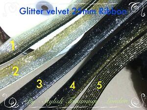 Sparkly Glitter Velvet Ribbon Lace Trim Craft DIY sewing Gift decor Wedding Cake