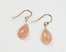 Greenwood Designs14k gf Gold Sun Stone Peach Sparkle Dangle Earrings