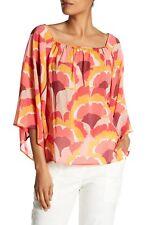 NWT- Trina Turk Ginkoba Printed Silk 3/4 Sleeve Blouse Top, Multi - Size Medium