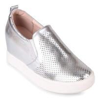 Wanted Cascade HIDDEN HEEL PLATFORM Slip On Wedge Fashion Sneaker SILVER