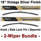 "2-Wiper Bundle: TRICO Classic Wiper Blades 18"" Vintage Silver Finish - 33-183 x2"