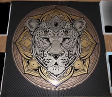 Chris Saunders Jag Mandala Screen Print Signed #d Poster Jaguar Cat Animal Art