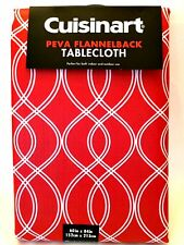 Cuisinart Tablecloth PEVA Flannel Back 60 X 84 In Red White Geometric Design