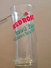 Vintage RED ROSE ICED TEA Class in a Glass Drinking Glass Tumbler Clear AD PROMO