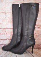 Womens Rockport Black Leather Zip Up High Heel Knee High Boots Size UK 6.5 EUR40