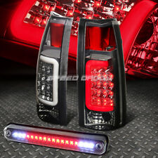 SMOKED HOUSING CHROME 3D LED TAIL+BLACK 3RD BRAKE LIGHT FOR 88-00 CHEVY/GMC C/K