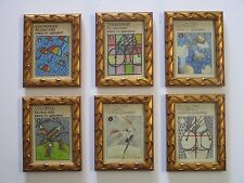 LOT OF 6 VINTAGE POP OP ART PAINTINGS DRAWINGS ILLUSTRATION SURREAL 1970'S MOD