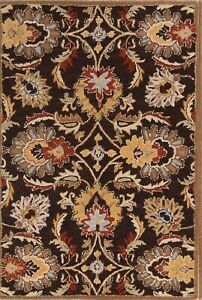 Hand-Tufted Classic Traditional Floral Dark Brown Indoor Oriental Area Rug Wool