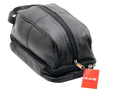 RAS Men's Real Leather Travel Overnight Wash Gym Toiletry Shaving Bag 3530 Black