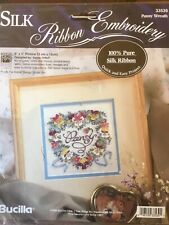 Lovely Bucilla 'PANSY WREATH' Pure Silk Ribbon Embroidery Kit. Factory Sealed.