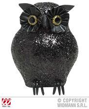 Schwarze Glitzer-Eule Figur 10,5 cm Black Owl Halloween Deko Gothic 127853M13