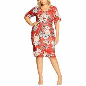 CITY CHIC NEW Women's Plus Size Floral Knot Front Sheath Dress XXL/24 TEDO