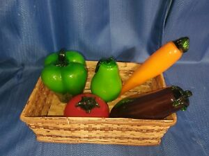 Vintage Murano Style Lot of 5 fruits and vegetables