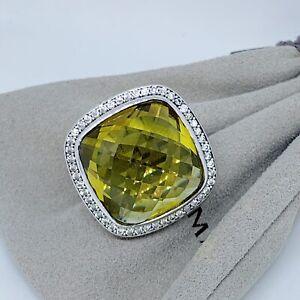 David Yurman Sterling Silver Albion 20mm Lemon Citrine Diamond Ring Size 7.75