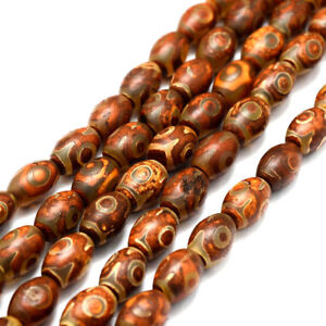 2 Strds Unique Tibetan dZi Beads Loose Natural Agate Gemstone SaddleBrown 12x8mm