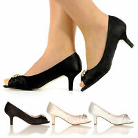 NEW WOMEN WEDDING BRIDAL PROM SHOES MID HEEL BRIDESMAID EVENING SANDALS SIZE 3-8