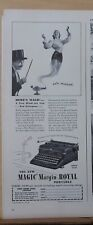 1940 magazine ad for Royal Typewriters - magician conjures woman, Arrow model