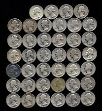 "ROLL OF WASHINGTON QUARTERS  90% Silver  (40 Coins) ""WORN/DAMAGED"" LOT L77"