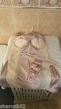 Ann Summers Ava Champagne & Cafe Creme Silk & Mesh Cami With Thong Size 12  NWT