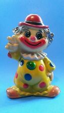"Vintage Plastic CLOWN COIN BANK 7.5"" w/stopper Hong Kong - Polka Dots on Yellow"