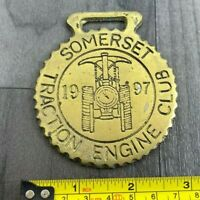 Authentic Vintage Brass Plaque Somerset Traction Engine Club 1997