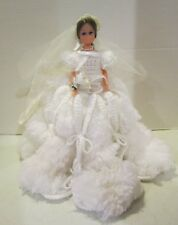 """11"""" unmarked vinyl Fashion Doll in Nice Handmade Fluffy White Yarn Bridal Outfit"""