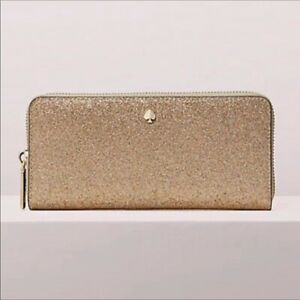 NWT Kate Spade Burgess Court Slim Continental Zip Wallet Glitter Palegold