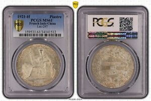 1921-H French Indo China Piastre PCGS MS61