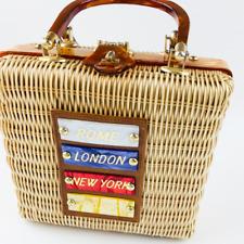 Vintage Stylecraft Miami Lacqured Wicker Handbag Lucite Rome London New York Bag