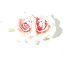 Cream Pink Double Rose Flower Hair Comb Rockabilly 1950s Vtg Bridesmaid Clip 557
