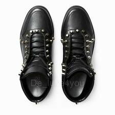 New Gucci Men's Leather Black High-Top Sneakers Shoes with Studs 7 - US 8 / 41.5