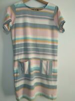 BRAKEBURN Size 10 Pink Grey Turquoise Pastel Stripe Short Sleeve Dress Pockets