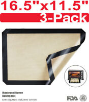 3 Pack Silicone Baking Mat Non Stick Heat Resistant Liner Oven Tray Sheet Black