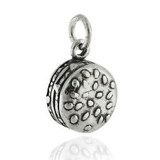 Hamburger Charm - 925 Sterling Silver - Beef Bun Sesame Seeds Barbecue Grill NEW