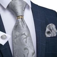 USA Silver Jacquard Paisley Tie Set Silk Woven Necktie Pocket Square Cufflinks