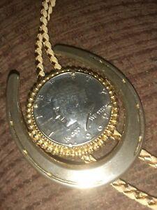 Vtg 1969 Kennedy Half Dollar horseshoe Bolo Tie goldtone Cord