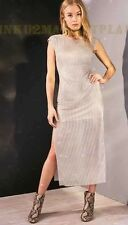 Silence + Noise Urban Outfitters Metallic  Silver Mesh Zara Styl Dress Gown Sz M