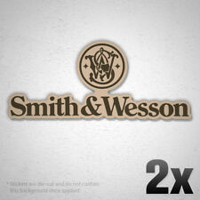 2x SMITH & WESSON Logo Vinyl Sticker Decal Weapon Gun Hunting Firearm Revolver