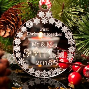 First Christmas Together as Mr & Mrs Personalised Tree Decoration Bauble, Mirror