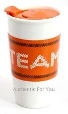 NEW Starbucks TEAM PLS Pumpkin Spice Latte Ceramic Orange White Fall Tumbler