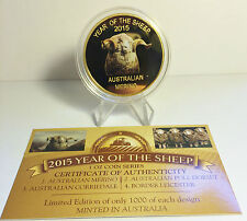 "NEW 2015 Year Of The Sheep ""AUST MERINO"" 1 Oz Coin C.O.A. LTD 1,000 (No Tin)"