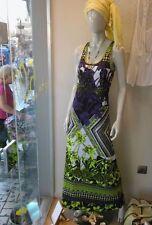 Italy EFFEK Neon Fluro Print Summer Beach Casual Vintage Boho Long Maxi Dress  M